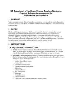 NC DHHS Work Area Physical Safeguards Assessment for HIPAA