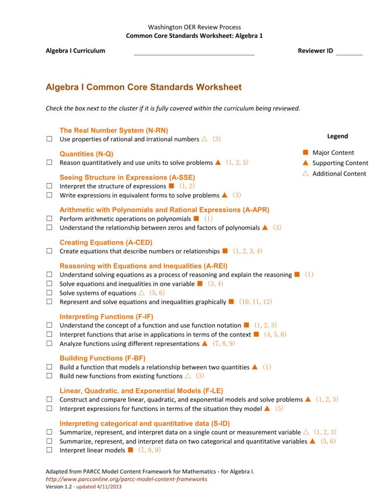Algebra I Common Core Standards Worksheet