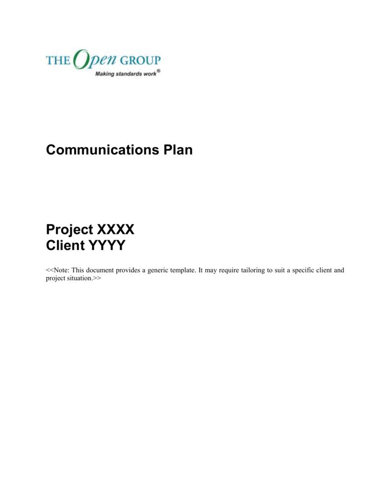 Template Communications Plan