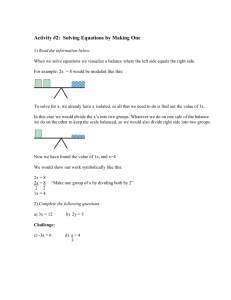 Solving Equations Lesson 1 – Making Zero