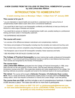 a new course from the college of practical homeopathy