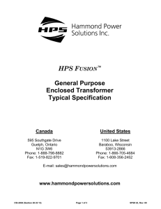 PART 1 – GENERAL - Hammond Power Solutions