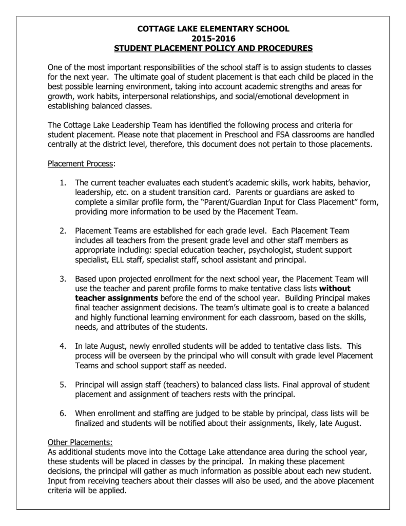 Student Placement Policy and Procedures