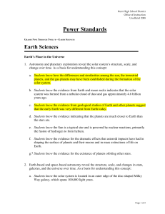 Earth Science Power Standards