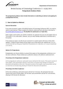 Postgraduate Guidance Notes