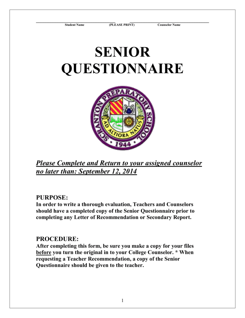 Senior questionnaire scranton preparatory school spiritdancerdesigns Image collections