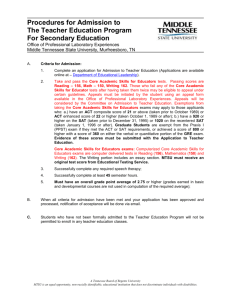 Procedures for Admission to The Teacher Education Program For
