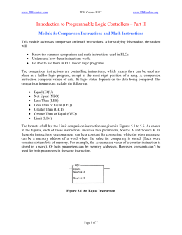 Module 5: Comparison Instructions and Math Instructions