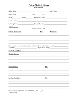 Park Cities Physical Therapy Patient History Questionnaire