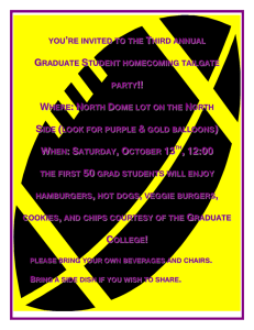 Come to the 3rd Annual Graduate College Tailgate Party