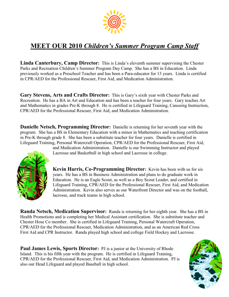 Meet Our 2010 Childrens Summer Program Camp Staff
