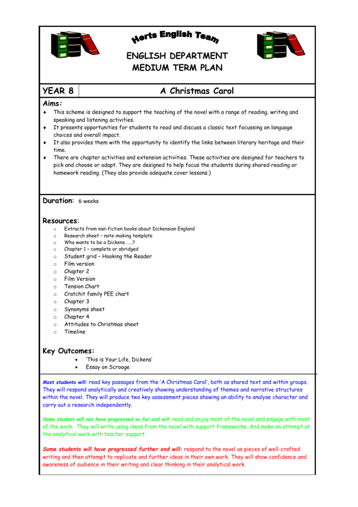 Sow Y8 A Christmas Carol Hertfordshire Grid For Learning