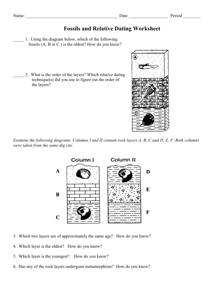 Dating fossils relative worksheet of Fossils And