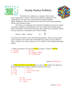 Density Practice Problems Answer Key from class Mon. Sept. 28