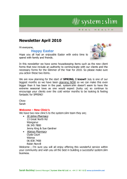 Newsletter April 2010 Hi everyone, Happy Easter Hope you all had