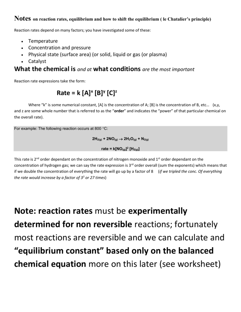 Notes on reaction rates, equilibrium and how to shift the equilibrium