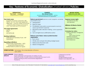 Key Features of Economic Globalization (market driven) Policies