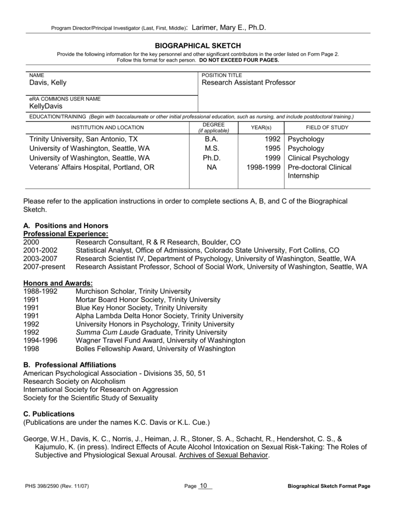 biographical sketch - University of Washington