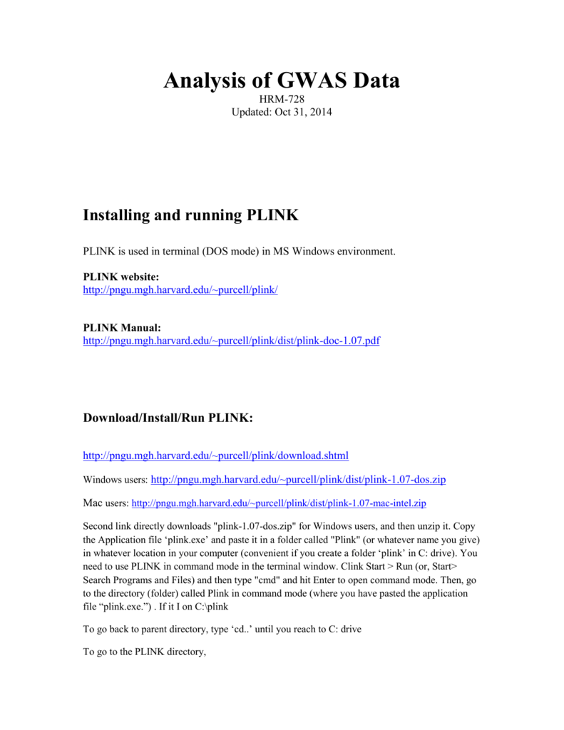 Analysis GWAS data through PLINK