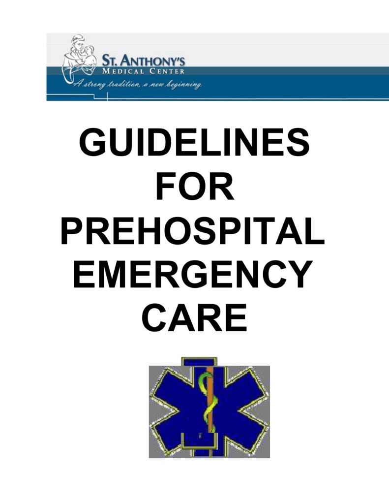 St Anthonys Pre Hospital Manual Rock Township Ambulance District
