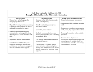Examples of Student Levels for Differentiated Instruction