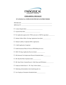 Onboarding Checklist – Employed Physicians