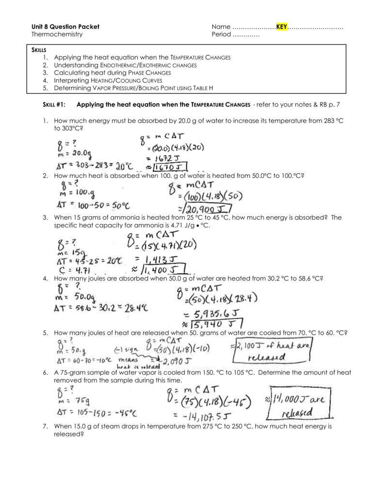 worksheet Heating Curve For Water Worksheet key practice qs unit 8