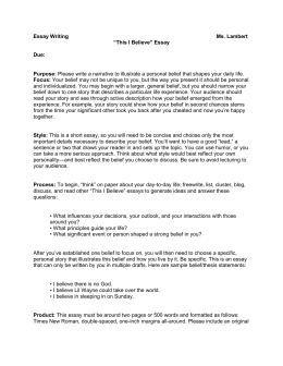 my creed student handout essay writing ms lambert ldquothis i believerdquo essay due purpose