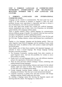 UNIT 4: FOREIGN LANGUAGE AS COMMUNICATION INSTRUMENT