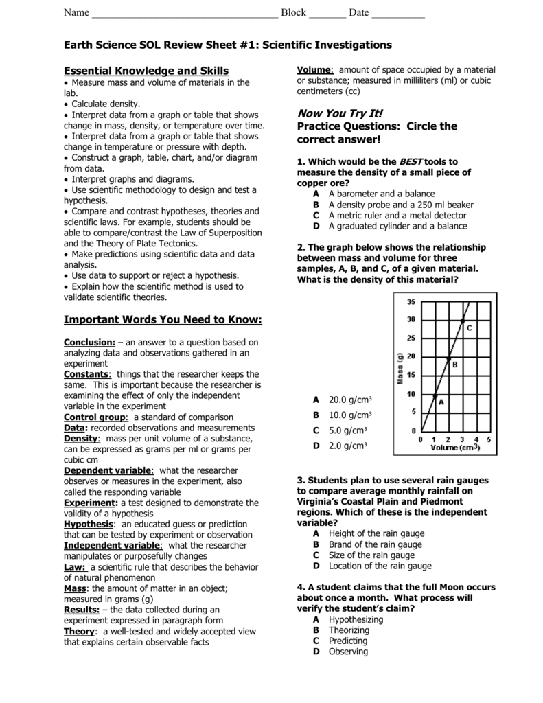 Worksheets Earth Science Review Worksheets earth science sol review sheet 1