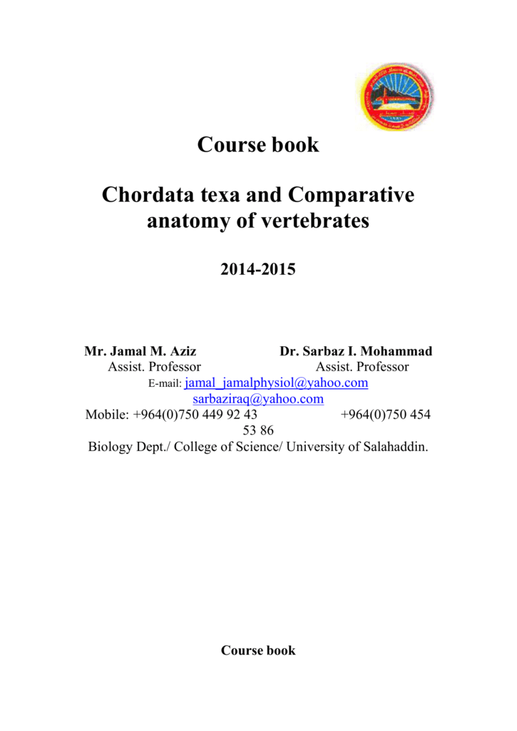 Course book Chordata texa and Comparative anatomy of