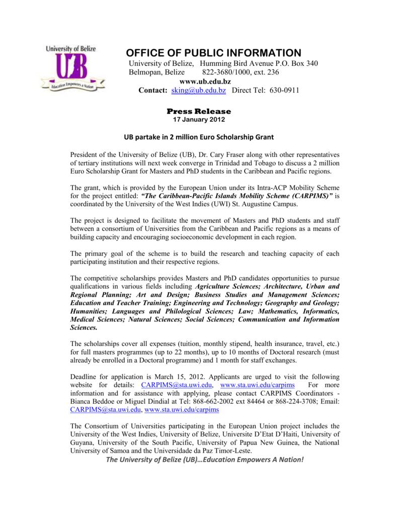 UB Partake in 2 million Euro Scholarship Grant