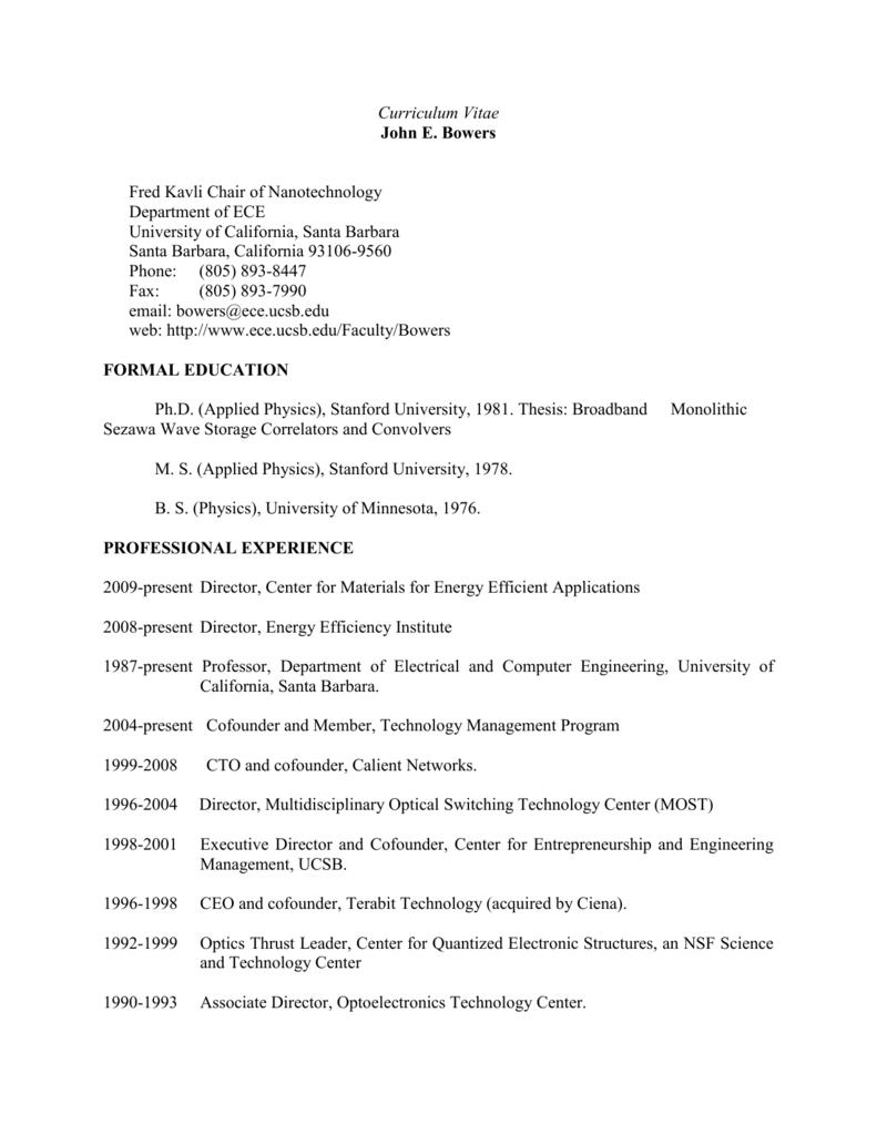 Curriculum Vitae - Optoelectronics Group