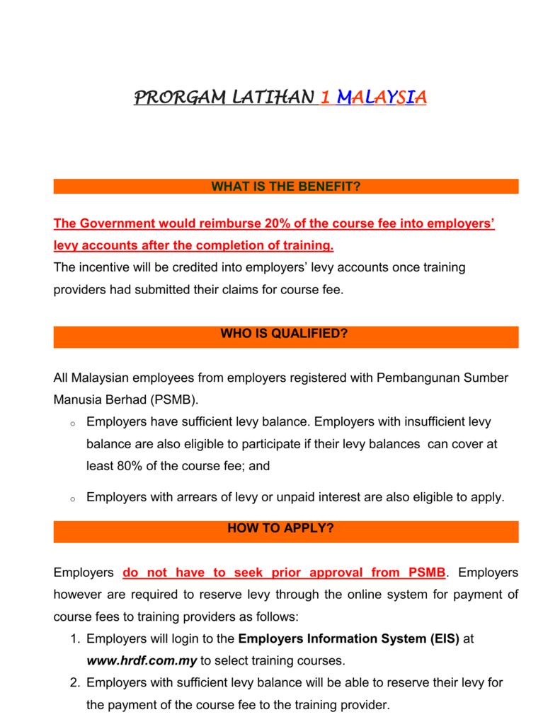 FREE COURSE UNDER PSMB`s 1 MALAYSIA TRAINING