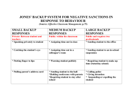 Jones` Backup System For Negative Sanctions in Response to
