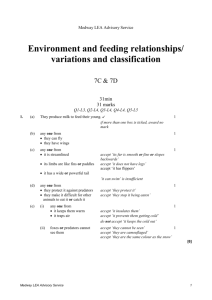 Environment and feeding relationships/variations and classification
