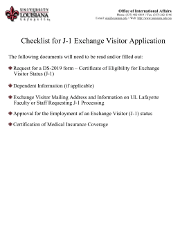 J-1 Exchange Visitor Checklist - Office of International Affairs