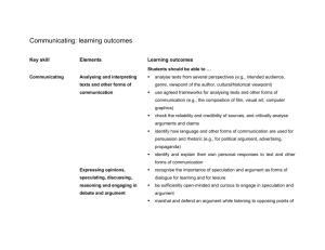 Communicating: learning outcomes