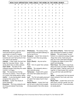 Word Search and Definitions for Native Plants and People at