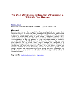 The Effect of Swimming in Reduction of Depression in University