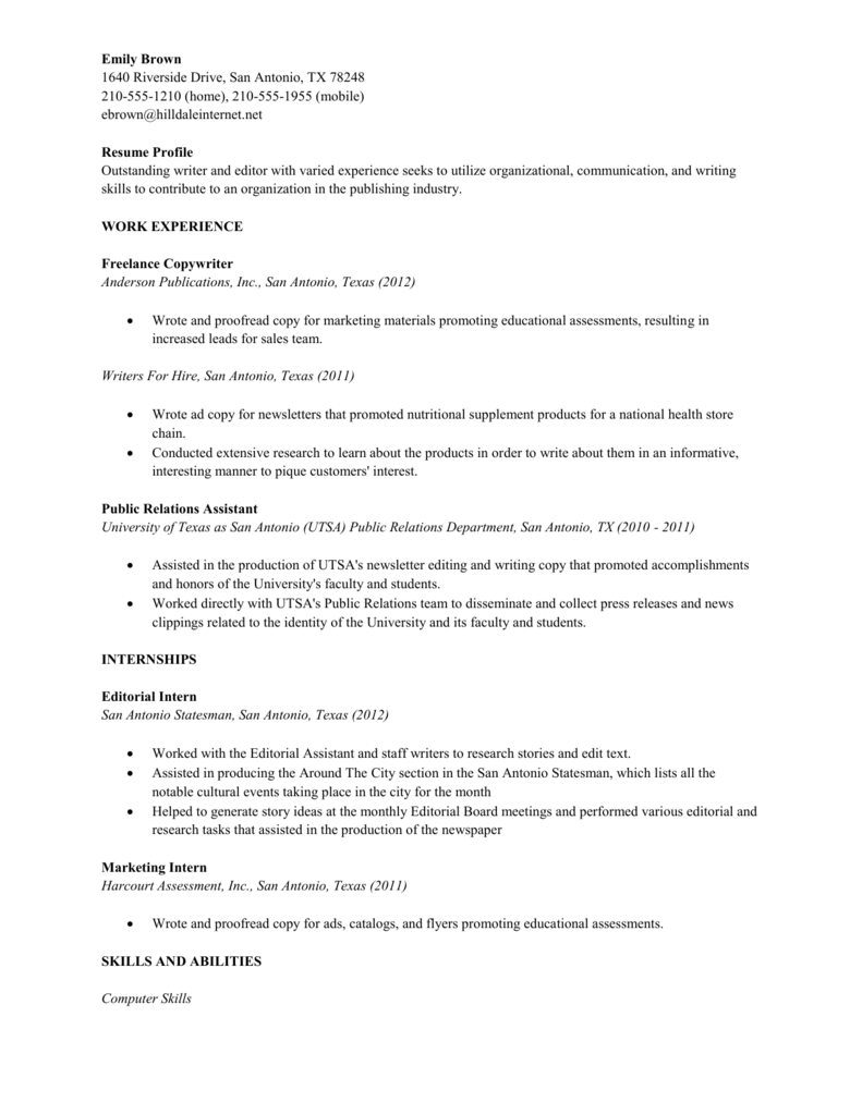 Sample Resume - College Student