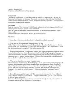 Juniors – Summer 2012 Questions on Toni Morrison`s Nobel