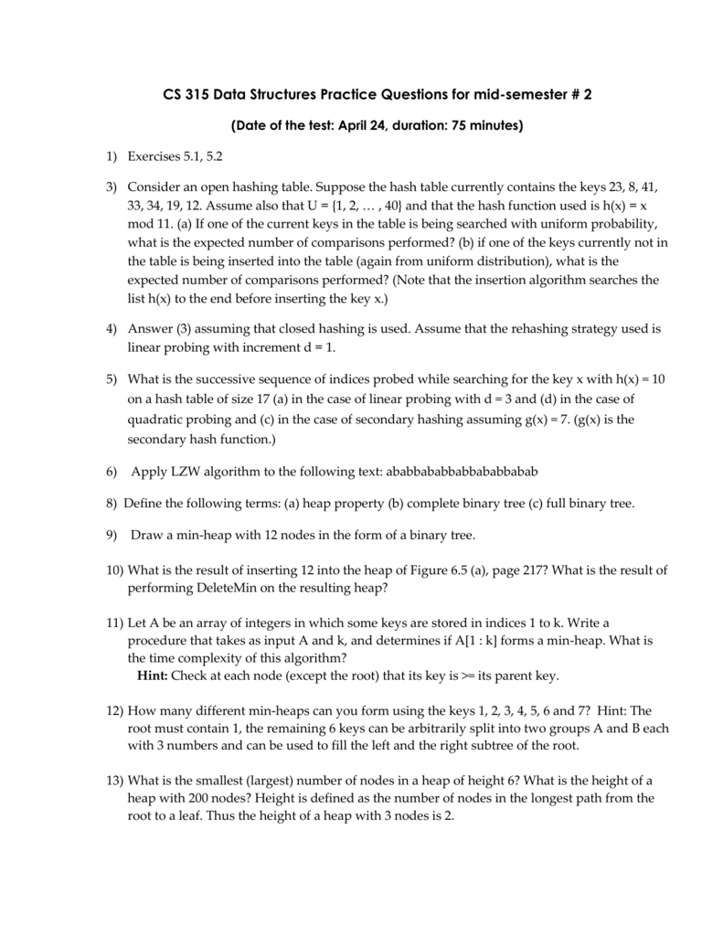 problems for Mid-semester Test # 2