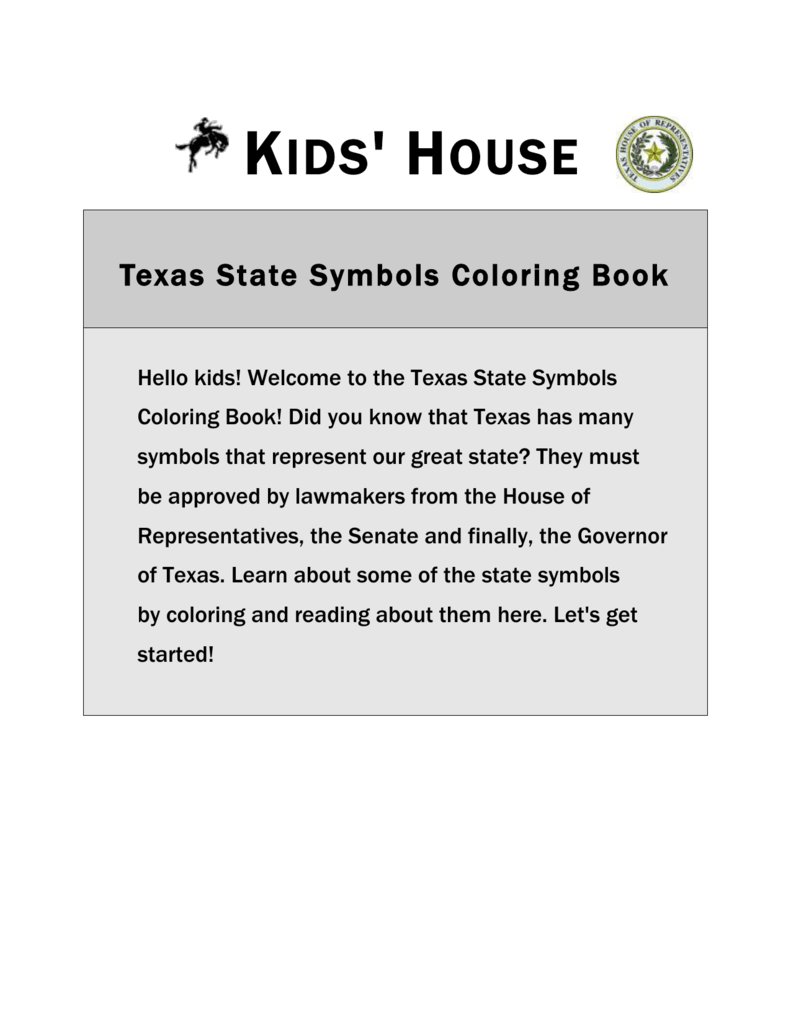 Texas State Symbols Coloring Book