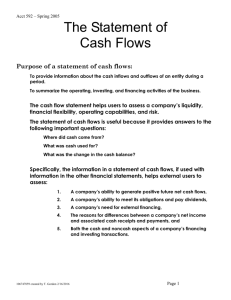 The Statement of Cash Flows (complete with solutions)