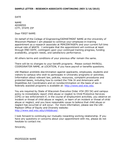 Sample Continuing Research Associate appointment letter