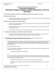 Draft Checklist for Research Involving Fetuses, Human In Vitro