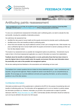 Antifouling paint reassessment feedback form