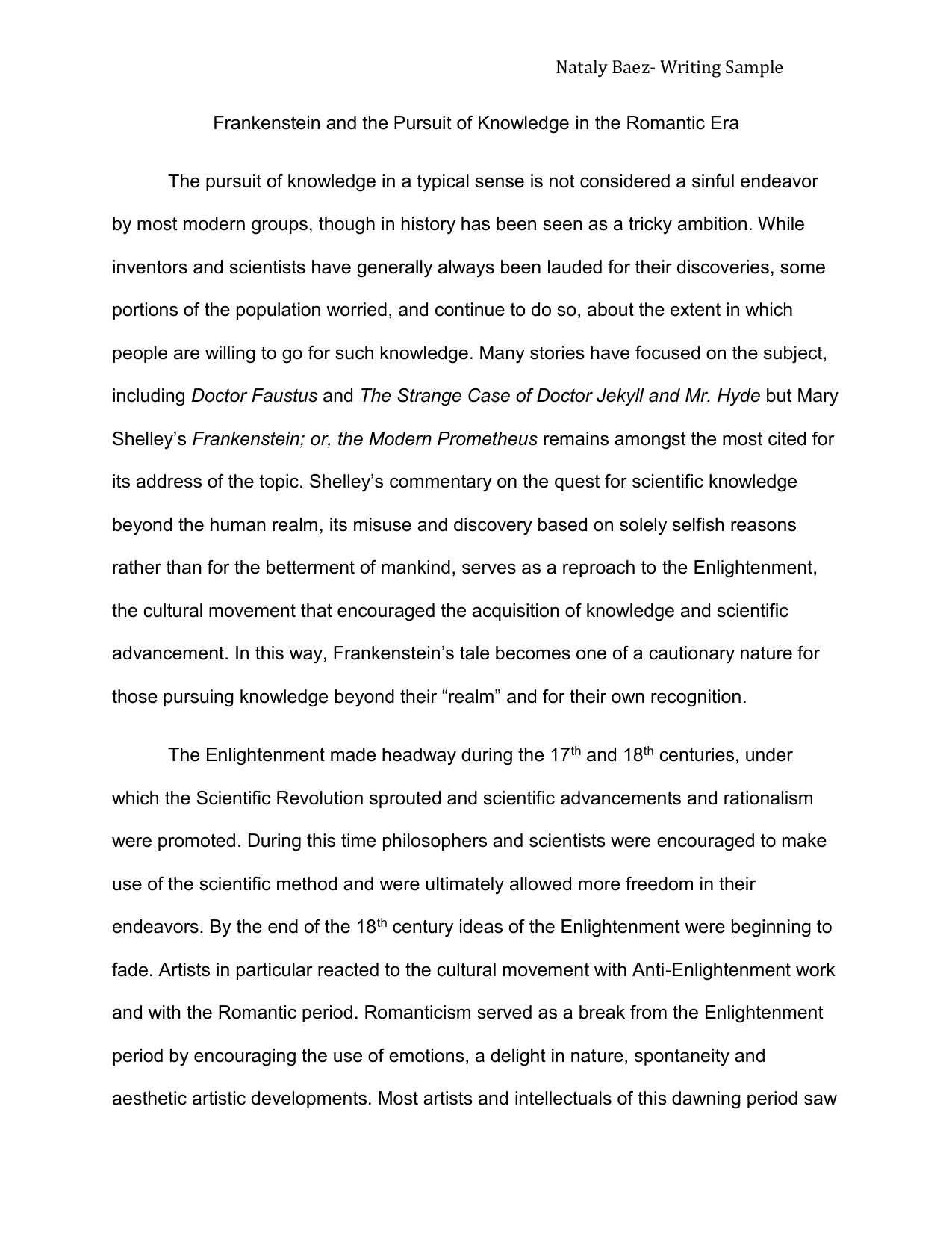 Essay On Science And Religion  What Is A Thesis Statement In A Essay also Process Paper Essay Frankenstein And The Pursuit Of Knowledge In The Short English Essays