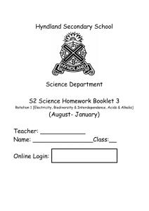 hyndland secondary s1 science homework